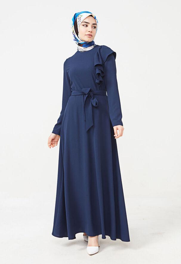 SETRMS - LACİVERT Volan Detaylı Kemerli Elbise 2125044