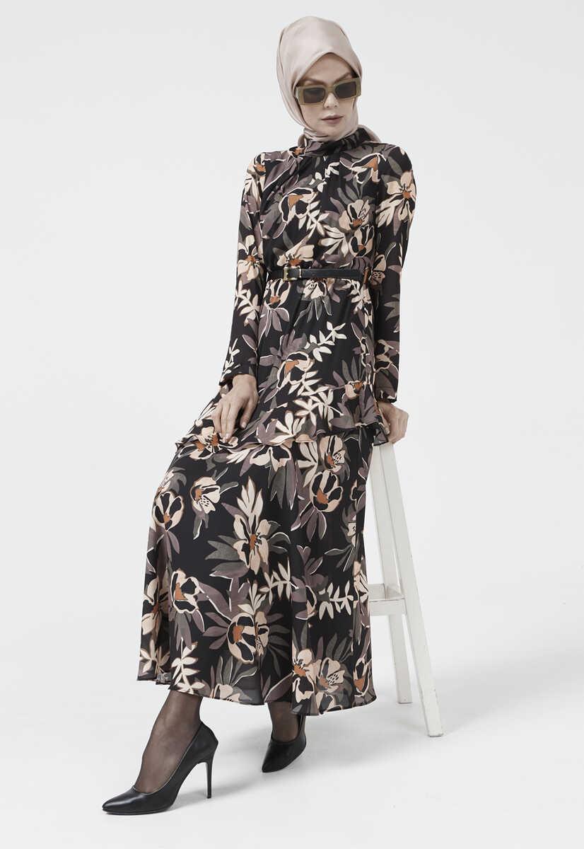 SİYAH Çiçek Desen Kemerli Elbise 2115010